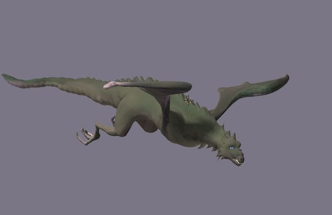 dragon animated 3d model rigged animated blend 1