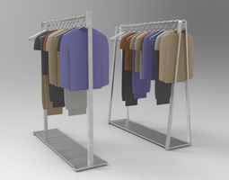 3D model Garment Rack with Clothes and Hangers