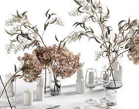 Table setting with dry plants 3D model