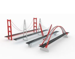 3D asset Suspended bridge pack collection Stylized low
