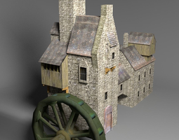 3d asset water mill low poly VR / AR ready