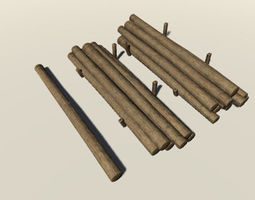 Wooden Logs 3D model game-ready