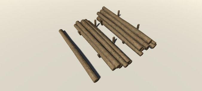 wooden logs 3d model low-poly fbx unitypackage prefab mat 1