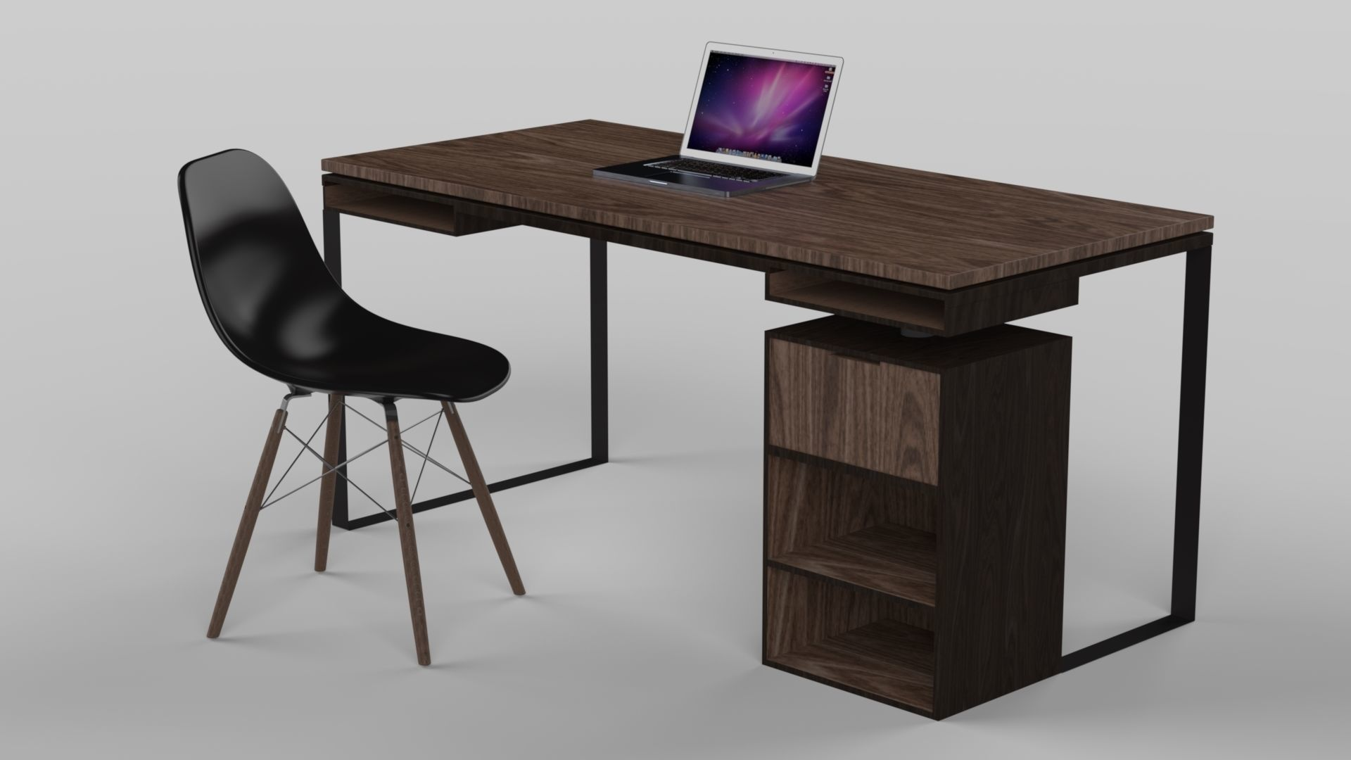 Modern Desk made of wood and metal