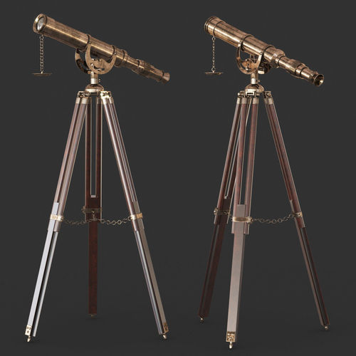 vintage antique tripod telescope 3d model max obj mtl fbx 1