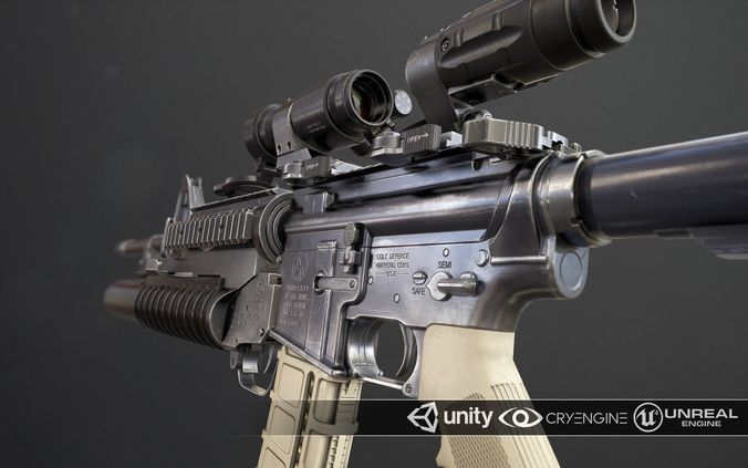 rifle m4a1 3d model obj mtl fbx ma mb tga 1