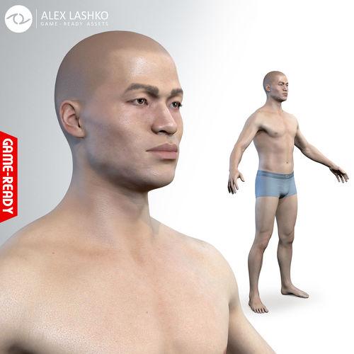 average asian male body  3d model obj mtl fbx ma mb ztl tbscene tbmat 1