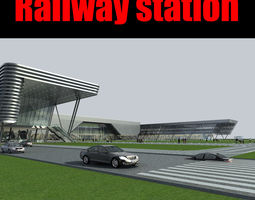 3d rigged railway station 011