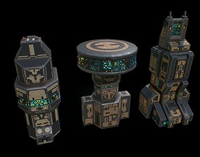 game-ready Low poly sci fi buildings assets