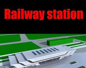 architectural 3D model Railway station