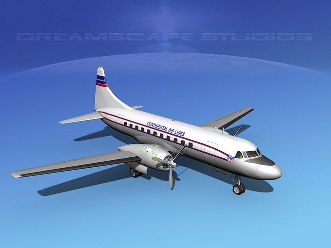 convair cv-340 continental 3d model max obj 3ds lwo lw lws dxf stl 1