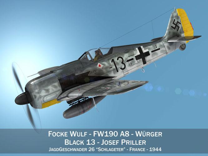 focke wulf - fw190 a8 - black 13 3d model obj mtl 3ds fbx c4d lwo lw lws 1