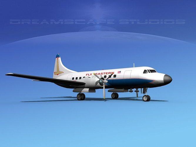 convair cv-340 eastern airlines 2 3d model max obj mtl 3ds lwo lw lws dxf stl 1