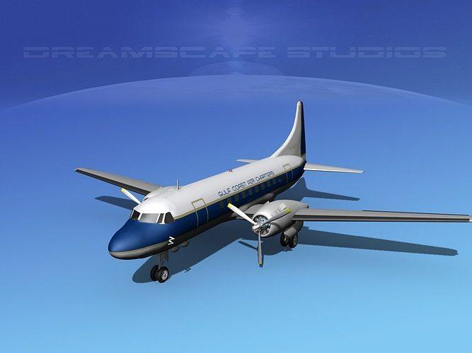 convair cv-340 gulf coast air charters 3d model max obj 3ds lwo lw lws dxf stl 1