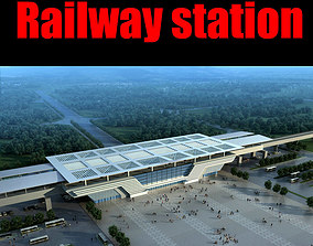 3D architectural Railway station