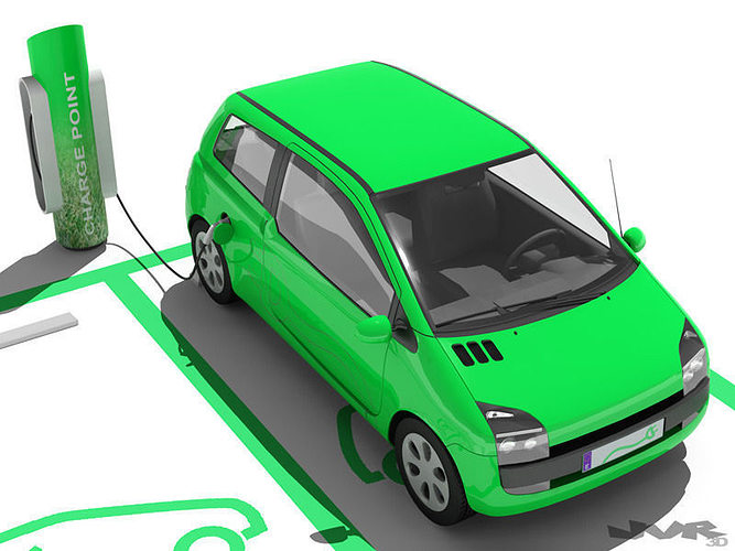 electric car and charging post 3d model max obj mtl 3ds fbx 1