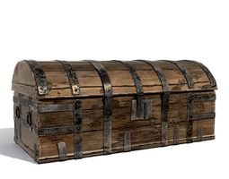 3D asset Medieval wooden chest