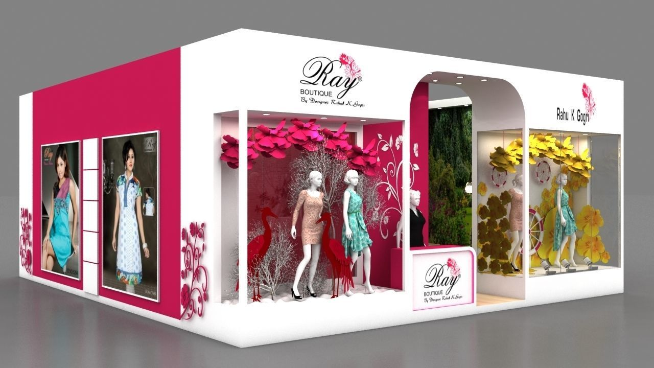 Exhibition Stall Design For Garments : Exhibition stall garment window d model max bip