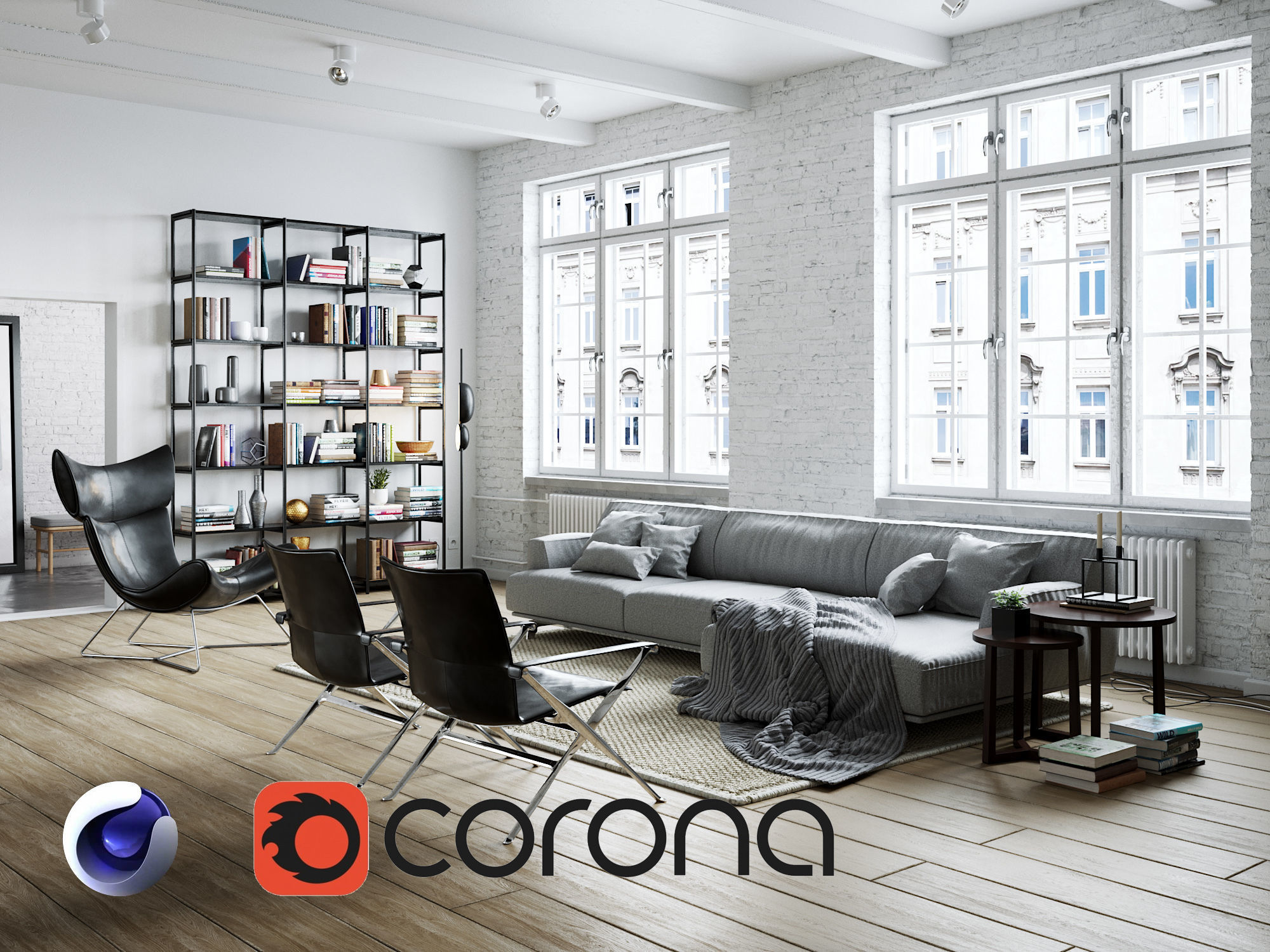 Living Room Interior Scene for Cinema 4D and Corona Renderer