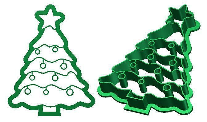 christmas tree cookie cutter 3d print model cgtrader