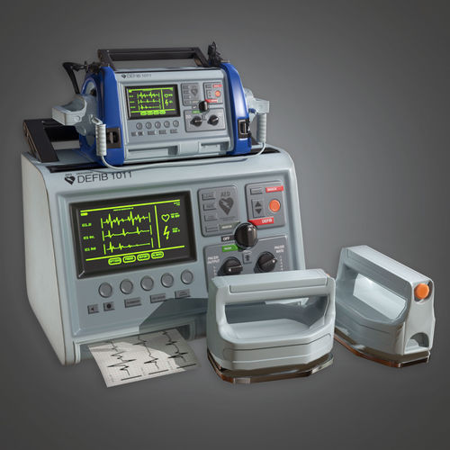 medical defibulator hpl - pbr game ready 3d model low-poly obj mtl fbx ma mb tga 1