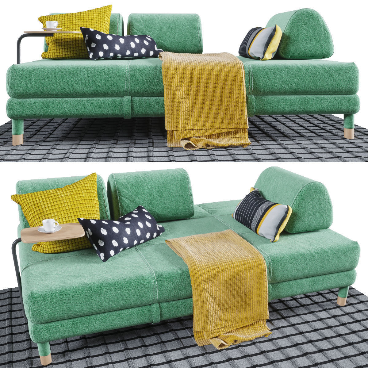 Admirable Flottebo Sofa Bed With Side Table 3D Model Bralicious Painted Fabric Chair Ideas Braliciousco
