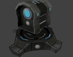 3D model Sci-fi Turret Low poly