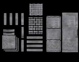 3D Set of pavement modular sett