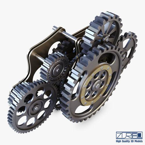 3d Model Gear Mechanism Low Poly V 8 Vr Ar Low Poly Max Obj Mtl Fbx