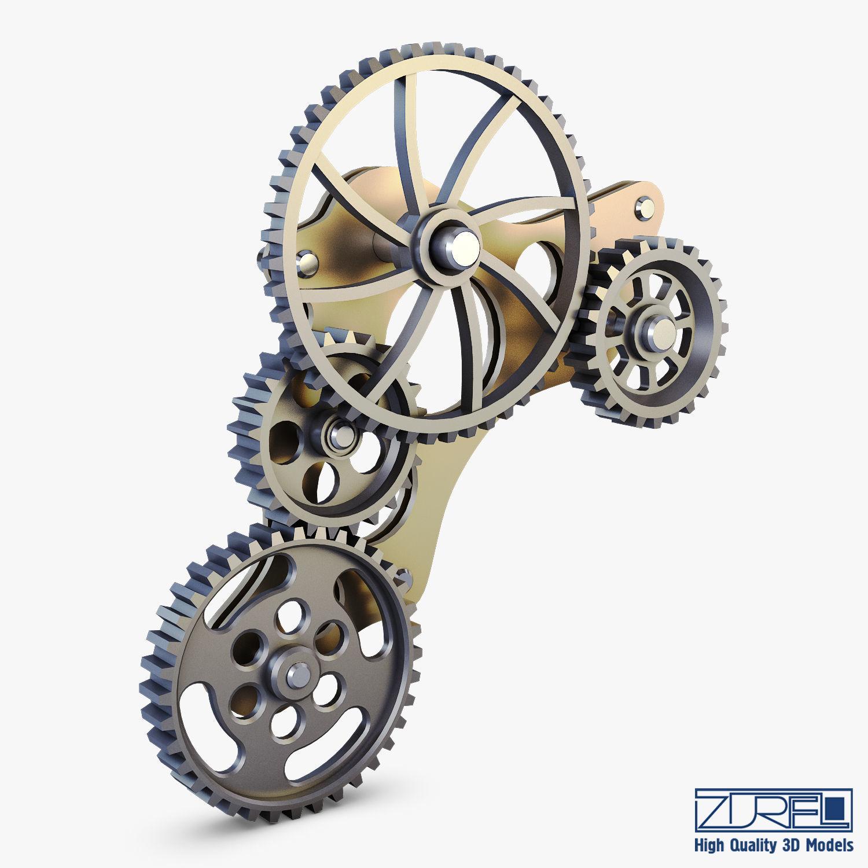 Gear Mechanism Low Poly v 4