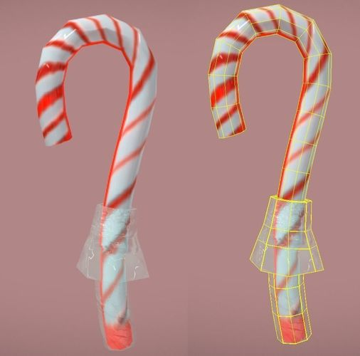 candycane lowpoly with wrapper 3d model fbx 1