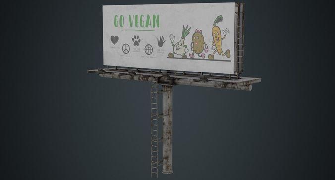 billboard 1b 3d model low-poly obj mtl fbx blend 1