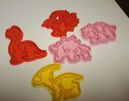 Set 5 cutter cookie five cute dinosaur 3D printable model