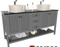 3d model double bathroom vanity set