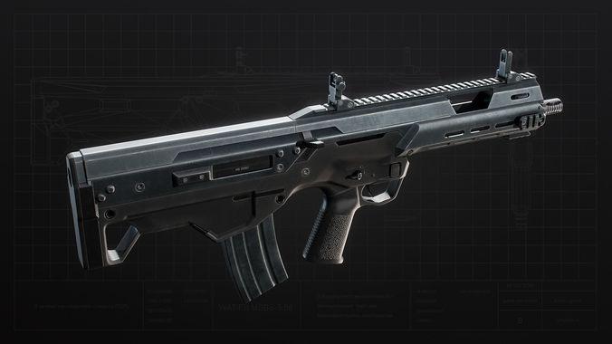 msbs 556b assault rifle 3d model low-poly rigged max obj mtl 3ds fbx tga unitypackage prefab 1