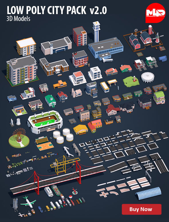 Low Poly City Pack 2