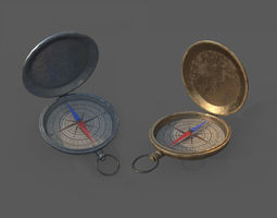3D model Low Poly Compas Bronze and Silver