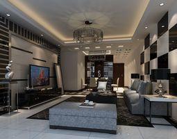 3D model rigged Modern house interior