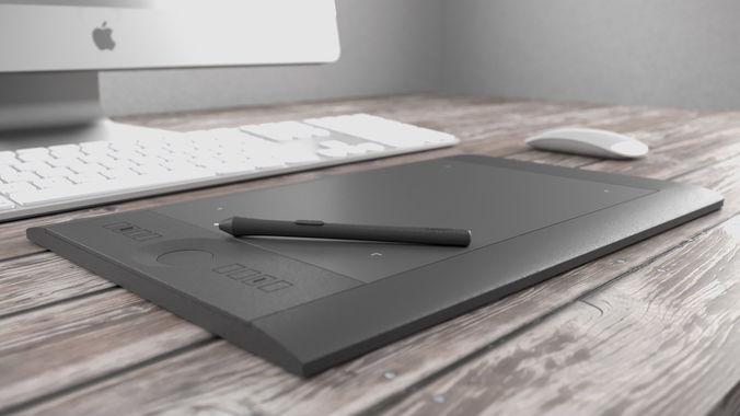 wacom intuos tablet and stylus 3d model obj mtl 3ds fbx c4d 1