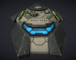 3D asset SciFi Space Gunboat Scout Ship