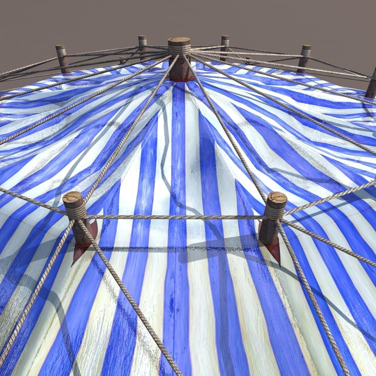 ... blue circus tent 3d model low-poly max obj 3ds fbx 4 ... & Blue Circus Tent 3D asset | CGTrader