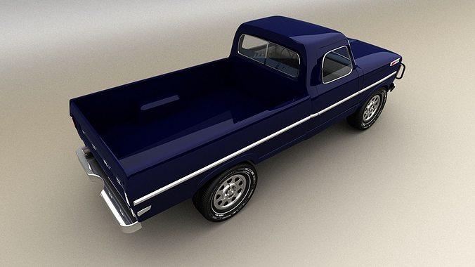 blue pickup 3d model max obj mtl 3ds fbx 1