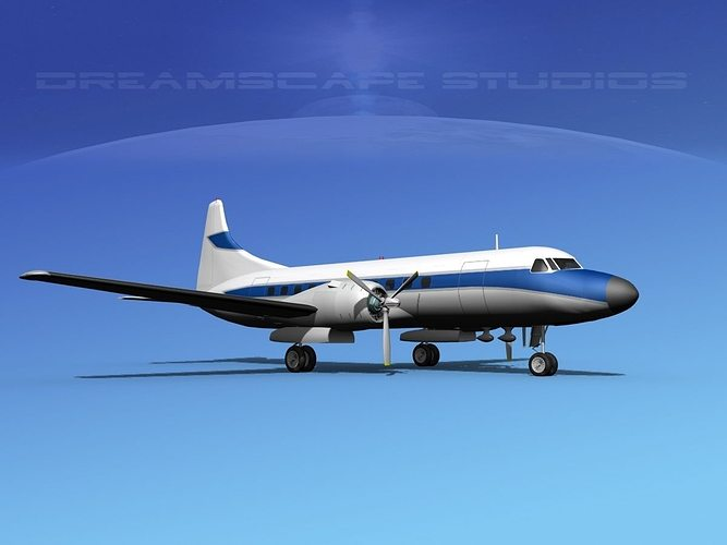 convair cv-340  private 3 3d model max obj mtl 3ds lwo lw lws dxf stl 1