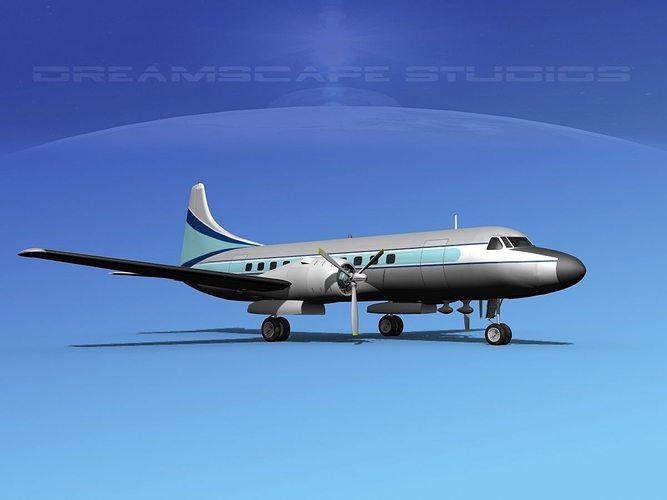 convair cv-340 private 4 3d model max obj mtl 3ds lwo lw lws dxf stl 1