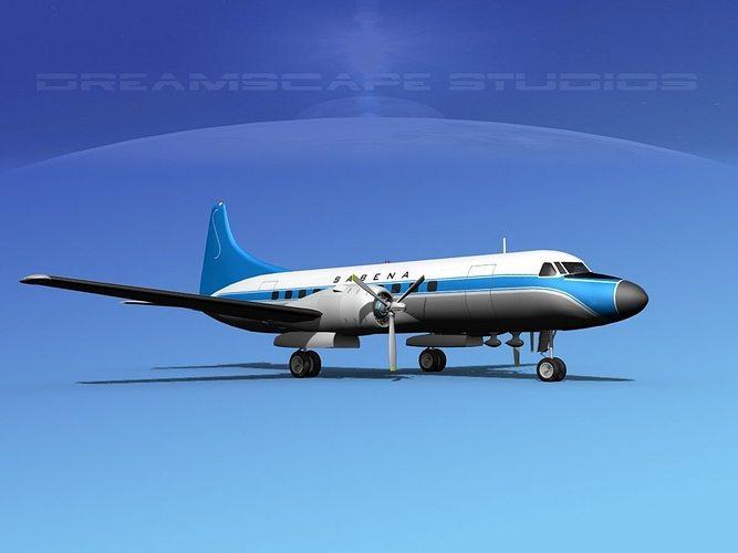 convair cv-340  sabena 3d model max obj mtl 3ds lwo lw lws dxf stl 1