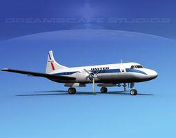 Convair CV-340 United Airlines 3D model