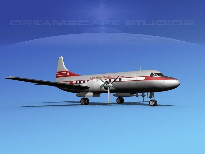convair cv-340  western airlines 3d model max obj mtl 3ds lwo lw lws dxf stl 1