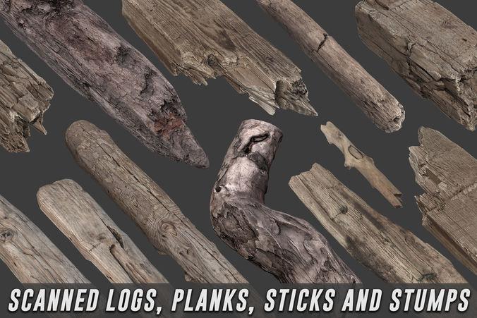 scanned logs planks sticks and stumps 3d model low-poly max obj mtl fbx 1