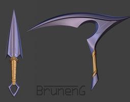 3d printable model akali rework weapons kunai and kama