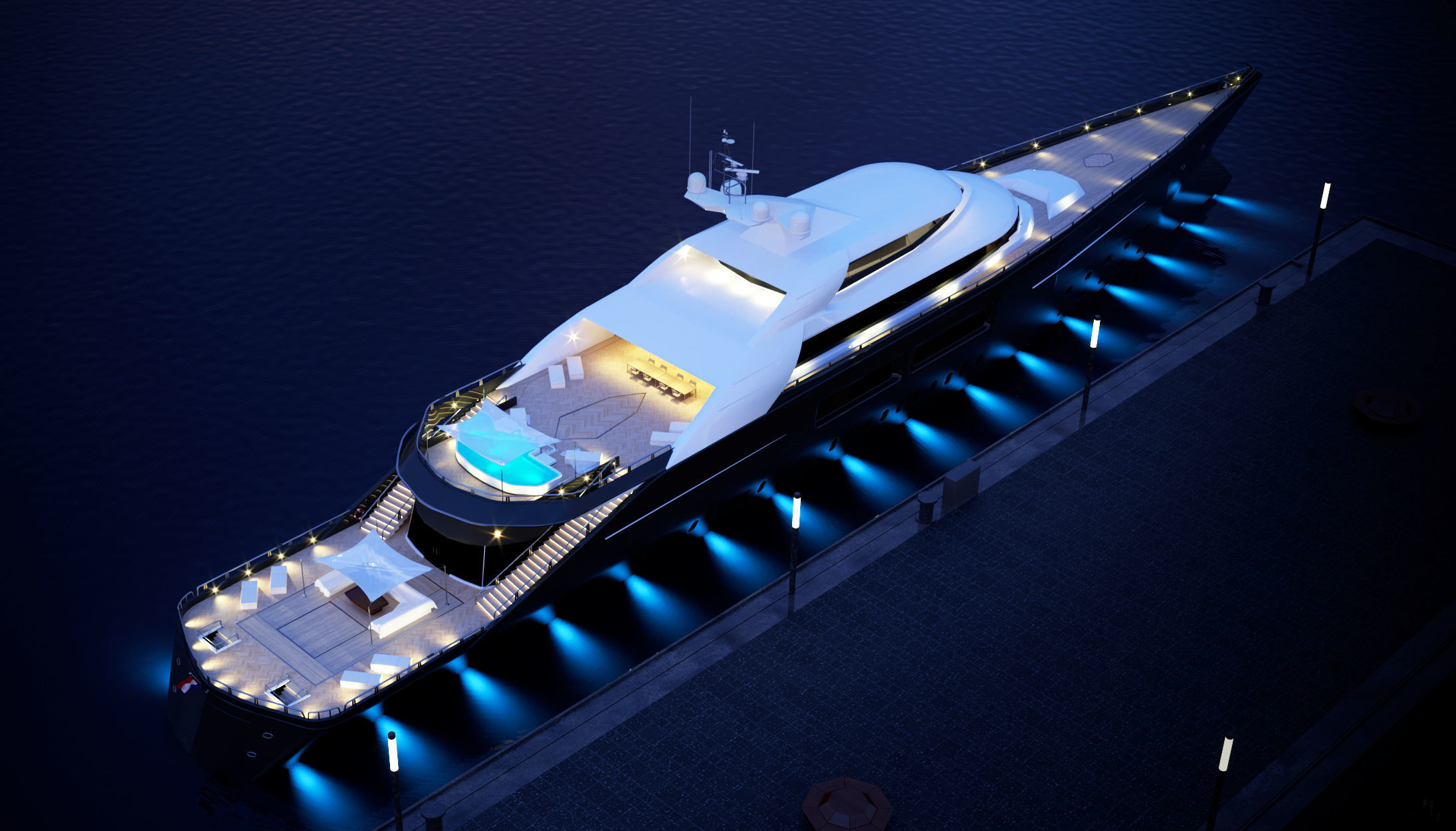 megayacht day and night scenes
